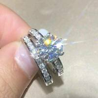 2Ct Round-Cut Moissanite Bridal Set Engagement Ring Solid 14K White Gold