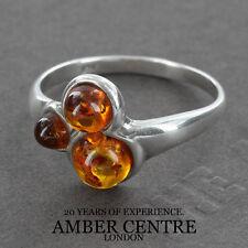 Tre Fiery Arancione Ambra Baltica Perle In Argento 925 WR255 Misura P