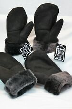 2 COLORS 100% REAL SHEEPSKIN SHEARLING LEATHER MITTENS UNISEX Fur Winter S-2XL