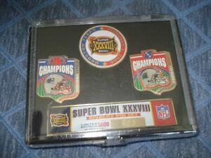 2004 Super Bowl 38 Champs New England Patriots 3 pin set Ltd Ed to 5000