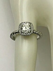 David Yurman Platinum Capri 1 Ct VS1-I Cushion Diamond Halo Engagement Ring GIA