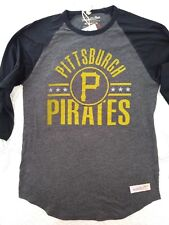NWT Mitchell & Ness Mens Grey Pittsburgh Pirates Henley Size Medium