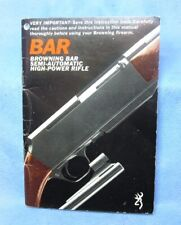 Browning Bar Semi Automatic High Power Rifle Vintage Original Owners Manual 1963