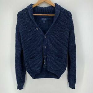 Polo Ralph Lauren Cardigan Sweater Youth M Blue Boys Button Knit