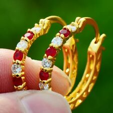 Fashion Jewelry 14K Real Gold Plated Ruby with Emerald ear Huggie Hoop Earrings