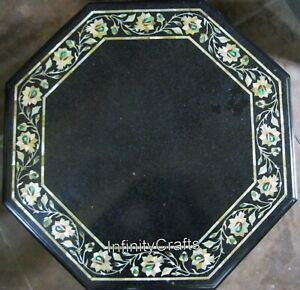 27 Inches Marble Coffee Table Top Floral Pattern Inlaid Royal Look Corner Table