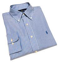 Ralph Lauren Men's Slim Fit Formal Shirt Button Down In Blue Striped