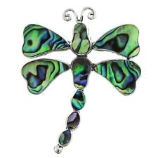"""1 3/4"""" PAUA ABALONE SHELL DRAGONFLY STERLING SILVER brooche"""