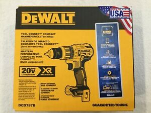 """New Dewalt DCD797B Tool Connect 20V Max XR 1/2"""" 2 Speed HammerDrill Driver (NIB)"""