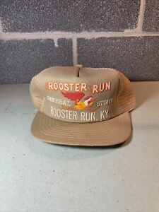 Vintage 80s Trucker Hat Rooster Run General Store Kentucky Joe Evans USA RARE