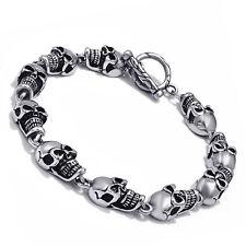 """Men's Silver Skull Ghosts Stainless Steel Chain Bracelet Biker Jewelry 9"""" inch"""