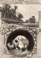 EAU FORTE / Fables de la Fontaine 1883 / LE FAUCON ET LE CHAPON