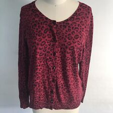 Talbots Red Leopard Button Up Cardigan Sweater Womens Size L