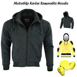 Motorbike Protective Hoodie Jacket - made with Kevlar Motorcycle Jacket Charcoal
