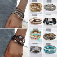 Fashion Leather Magnetic Clasp Cuff Bracelet Wristband Women Men Jewelry Bangle