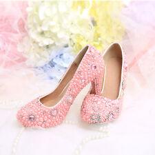 Women Block Heels Floral Pink Beads Wedding Bride Sweet Rhinestone Shoes Plus sz