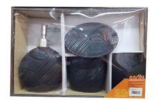 Set 4 Accessori Bagno Ceramica PortaSapone Porta Spazzolino Dispenser 52398A dfh