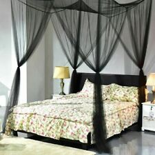 4 Corner Post Bed Canopy Mosquito Net Netting Black Full Queen King Size Home US
