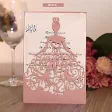 10Pcs  Luxury Kit Personalized Printing Pink Invitation Laser Cut Wedding Cards