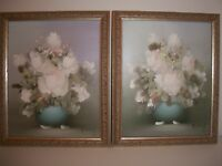 "Rossy Original Framed Oil Paintings Blue White Floral Signed 8"" x 10"" Set of 2"