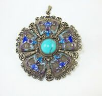 Vintage Chinese Export Sterling Silver Enamel Turquoise Pendant Brooch Pin 5Bats