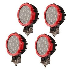 4pcs 51w Flood Beam Led Work Light Bar for SUV Truck Offroad 4WD UTE Round RED