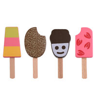4 Pieces Wooden Popsicle Kitchen Food Toy Kids Boys Girls Pretend Play Toy