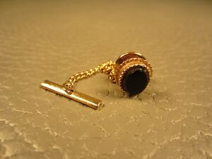 Vintage Beaded Border Onyx Yellow Gold Plated Tie Tac or Lapel Pin
