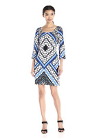 Jessica Simpson Women's Blue/White Printed Cross Back Shift Dress Sizes 4 6 8 10