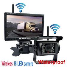 """7"""" LCD Moniteur Car Rear View Kit+IR 18 LED sans fil Caméra de recul Bus étanche"""