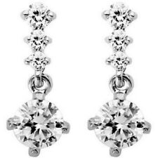 Short drop dangly clear stud earrings white gold jewellery gift box UK seller