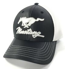 Ford Mustang Emblem Licensed Black White Trucker Mesh Hat Cap Embroidered