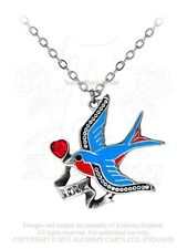 Alchemy Swallow Love Pendant/Necklace ULFP13, pewter/jewellery/tattoo/crystal