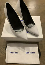 PROENZA SCHOULER PUMPS White Suede Leather EU38 Made In Italy Box/Dust Bag