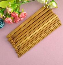 "Craft Knit Weave Yarn Bamboo Handle Crochet Hook Knitting Needle Set 12 Size 6"""