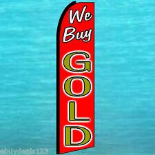 WE BUY GOLD FLUTTER FEATHER FLAG Vertical Advertising Sign Bow Banner Swooper