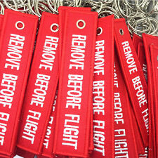 New Remove Before Flight Embroidered Canvas Luggage Tag Label Key Chain