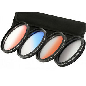 Graduated Filter Filterset: Orange + Blue + Light Red+Grey 67 72 77 82 MM