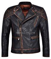 Vintage Men's Leather Jacket Black Rust CLASSIC BIKER STYLE REAL LEATHER NV-100