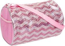 NEW Girls Light Pink/Silver Sequin Chevron Shoulder Duffle Duffel Dance Gym Bag