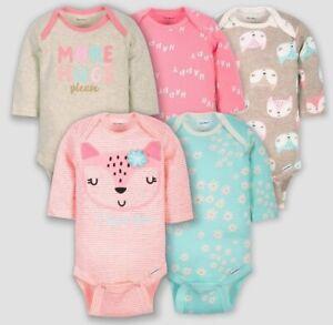 Gerber Baby Girl 5-Piece Fox Long Sleeve Onesies Size 0-3M