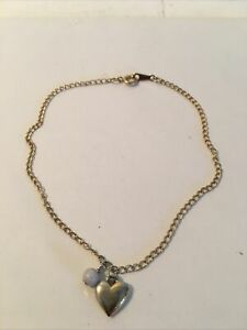 """9"""" Avon Anklet Ankle Bracelet Gold Tone With Heart A Single Pearl Charms"""