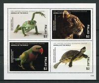 Palau 2017 MNH Wild Animals of World 4v M/S Frogs Turtles Birds Leopards Stamps