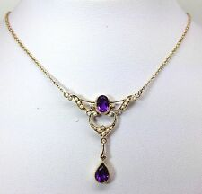 9ct Gold Amethyst & Pearl Victorian Style Necklace, New, Actual One, UK Seller.