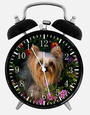 "Yorkie Alarm Desk Clock 3.75"" Home or Office Decor W123 Nice For Gift"