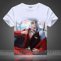 Summer Anime InuYasha Pullover Cosplay Unisex White T-shirt Short Sleeve TEE #
