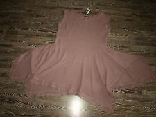 Aurea Vita  wunderschöne leinen strick Tunika Kleid mit Spitze Gr.XXXL altrose