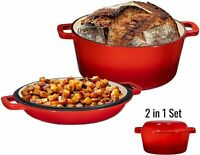 Bruntmor Enameled Cast Iron 2 in 1 Double Dutch Oven & Skillet Lid  5-Quart Red