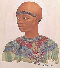 Bald Man Wearing Dashiki Painting Electric Wires Red Light by Violeta Autumn