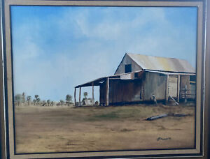 Acrylic Oil Painting Made Australian Outback Shed Edwards Artist Mint 1983 83
